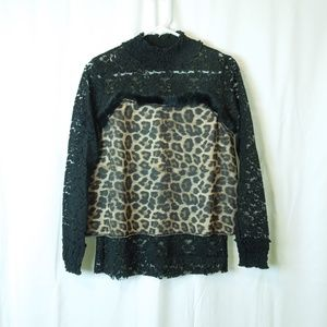 Leopard Turtleneck Laced Arms Long Sleeve Sweater